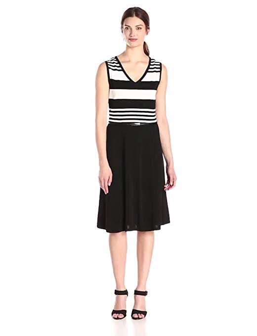 Jones New York Women's Sleeveless V-Neck Stripe Fit and Flare Dress
