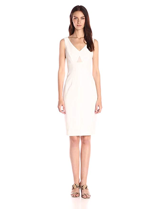 Donna Morgan Women's Sleeveless V-Neck Crepe Sheath with Front Slit