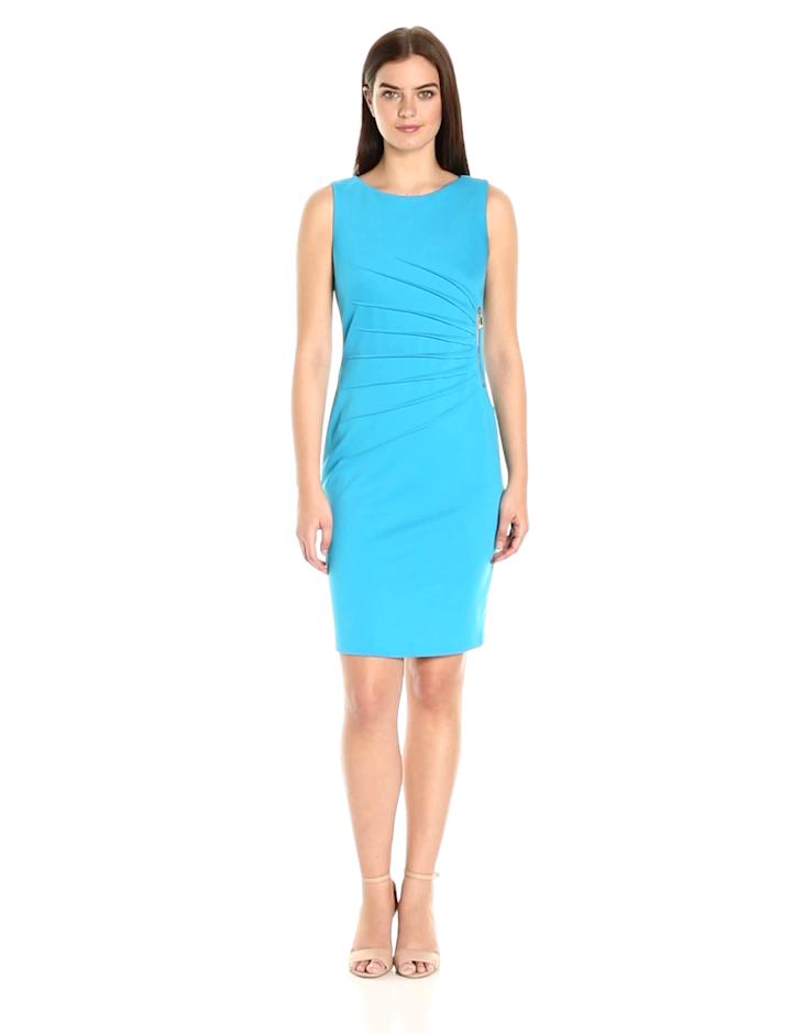 Ivanka Trump Women's Ponte Sleeveless Side Ruched Starburst Dress