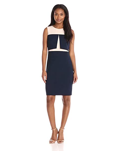 Donna Morgan Women's Sleeveless Crepe Colorblock Bodycon