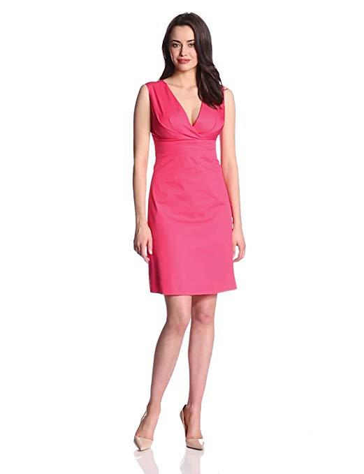 Elie Tahari Women's Sonya Cotton Poplin Ruched-Front Sleeveless Dress