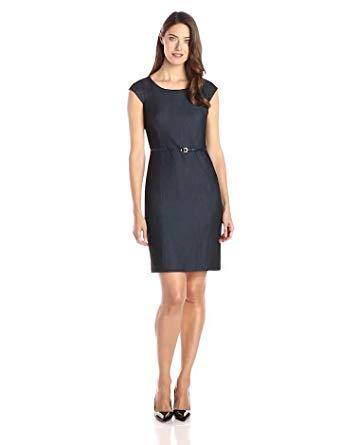 Jones New York Women's Brook Denim Cap-Sleeve Dress