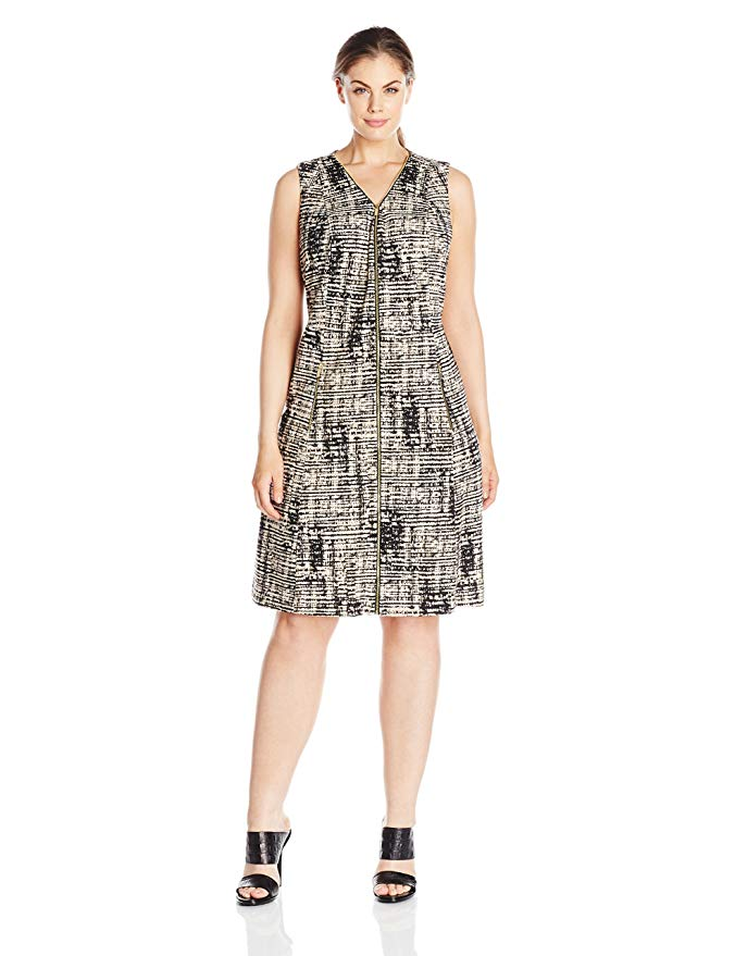 Calvin Klein Women's Plus-Size Fit-and-Flare Dress with Zips