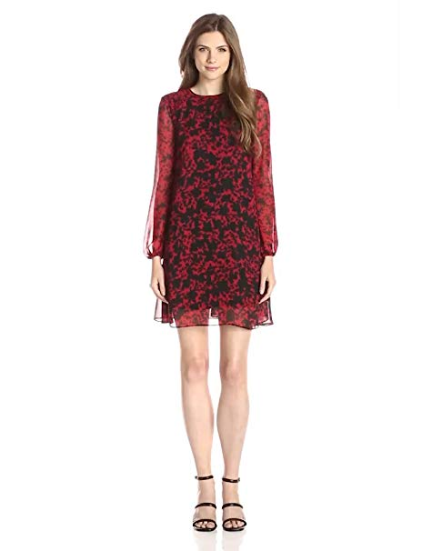 Taylor Dresses Women's Long-Sleeve Printed Shift Dress