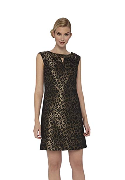 Tahari Women's Leopard Print Keyhole Dress