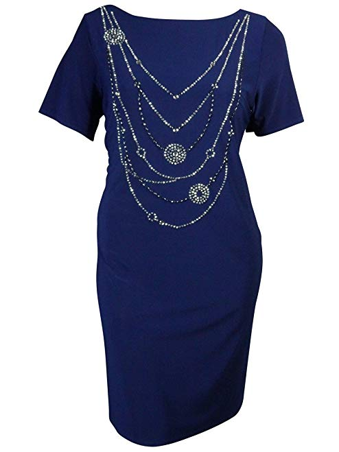 Onyx Nite Women's Jeweled Short Sleeves Jersey Dress