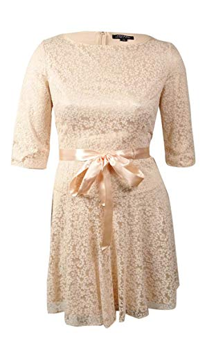 Tahari ASL Vicky-B Three-Quarter Sleeves Lace Tie Waist Dress