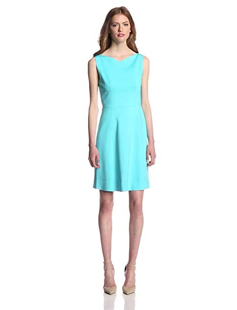Elie Tahari Women's Callie Double Knit Jersey Sleeveless Fit and Flare Dress