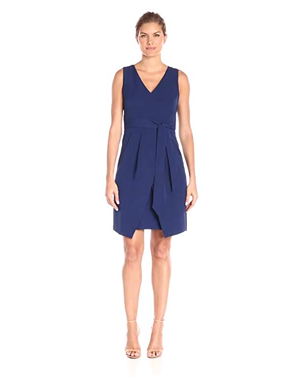 Donna Morgan Women's Crepe Dress with Tie Detail at Waist and Overlapping Skirt
