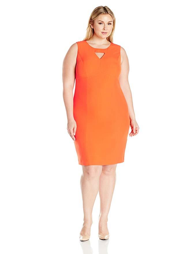 Kasper Women's Plus Size Solid Keyhole Dress