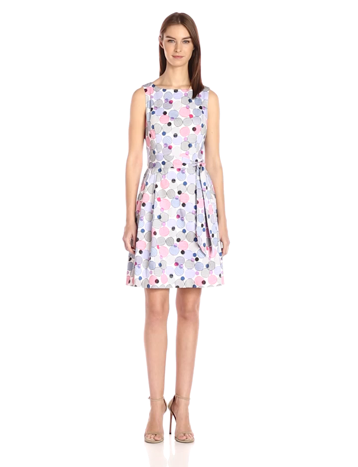 Anne Klein Women's Fit and Flare Self Belted Printed Cotton Sateen Dress,