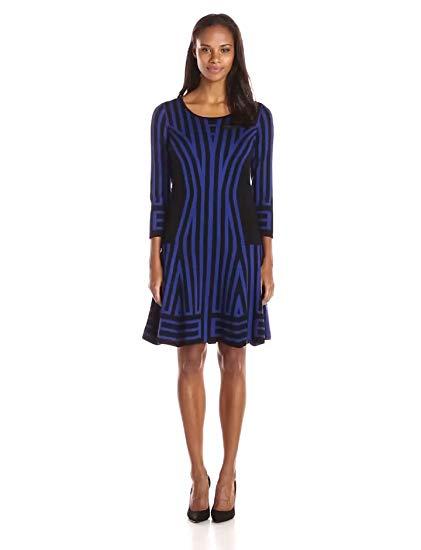 Gabby Skye Women's 3/4 Sleeved A-Line Sweater Dress