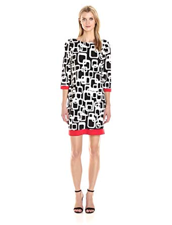 Ronni Nicole Women's 3/4 Sleeve Geo Printed Shift Dress with Contrast Trim