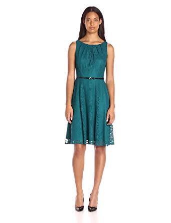 Kasper Women's Belted Pleat Neck Geo Lace Dress