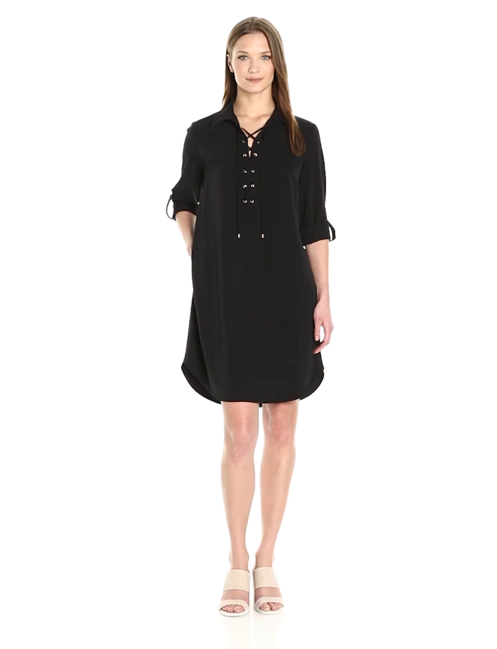 Jones New York Women's Elbow Sleeve Lace Up Front No Waist Shirt Dress,