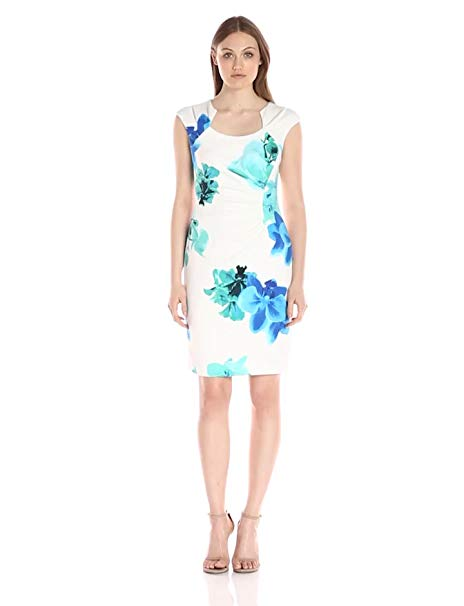 Calvin Klein Women's Cap-Sleeve Side-Ruched Dress