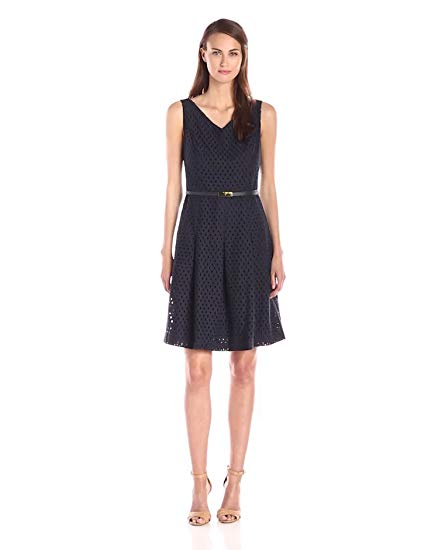 Jones New York Women's V-Neck Pleat-Front Fit-and-Flare Dress