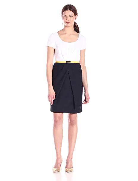 Jones New York Women's Short-Sleeve Pleated Color-Block Dress