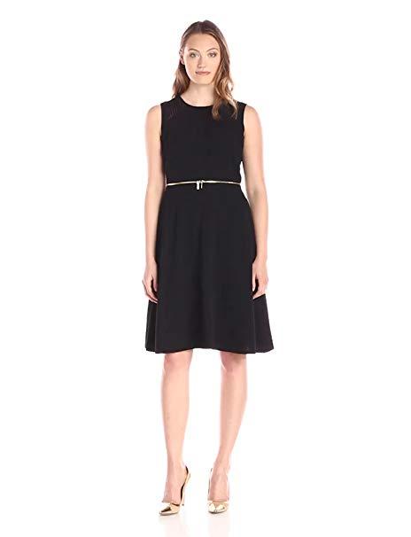 Calvin Klein Women's Fit-and-Flair Dress with Zipper Detail at Waist