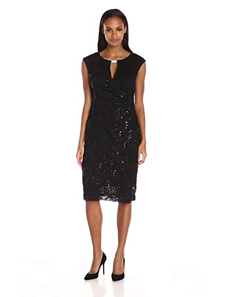 Ronni Nicole Women's Sequin-Lace Extended Cap-Side Ruched Dress