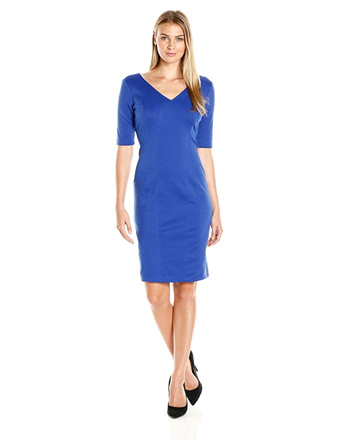 Julian Taylor Women's Elbow Sleeved V-Neck Sheath with Exposed Zip Back