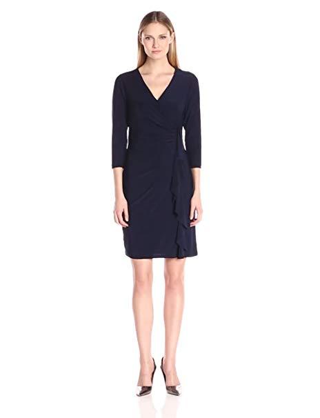 Kasper Women's Three Quarter Sleeve Vneck Side Ruffle Dress