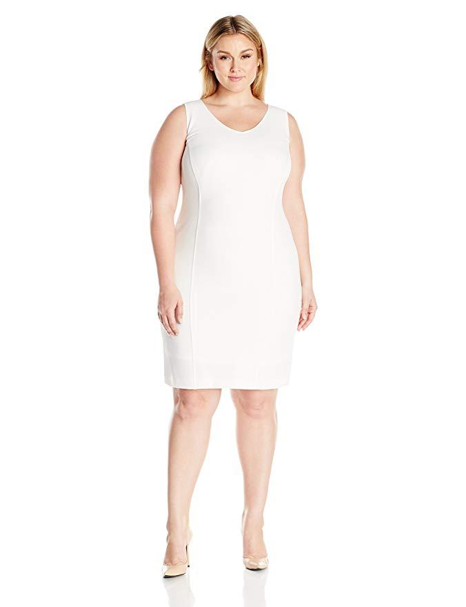 Kasper Women's Plus Size V Neck Seamed Dress,