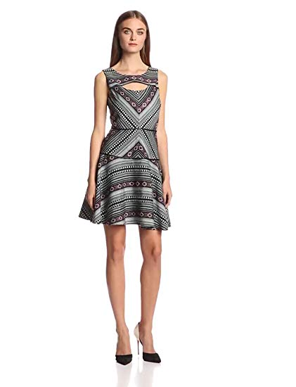 Jessica Simpson Women's Sleeveless Fit and Flare Printed Chest Opening Dress