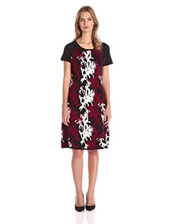 Taylor Dresses Women's Printed Fit-and-Flare Sweater Dress