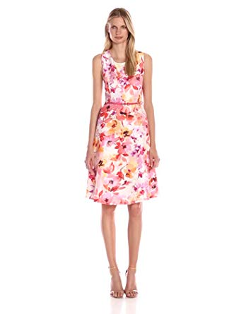 Kasper Women's Sleeveless Belted Floral Shantung Dress