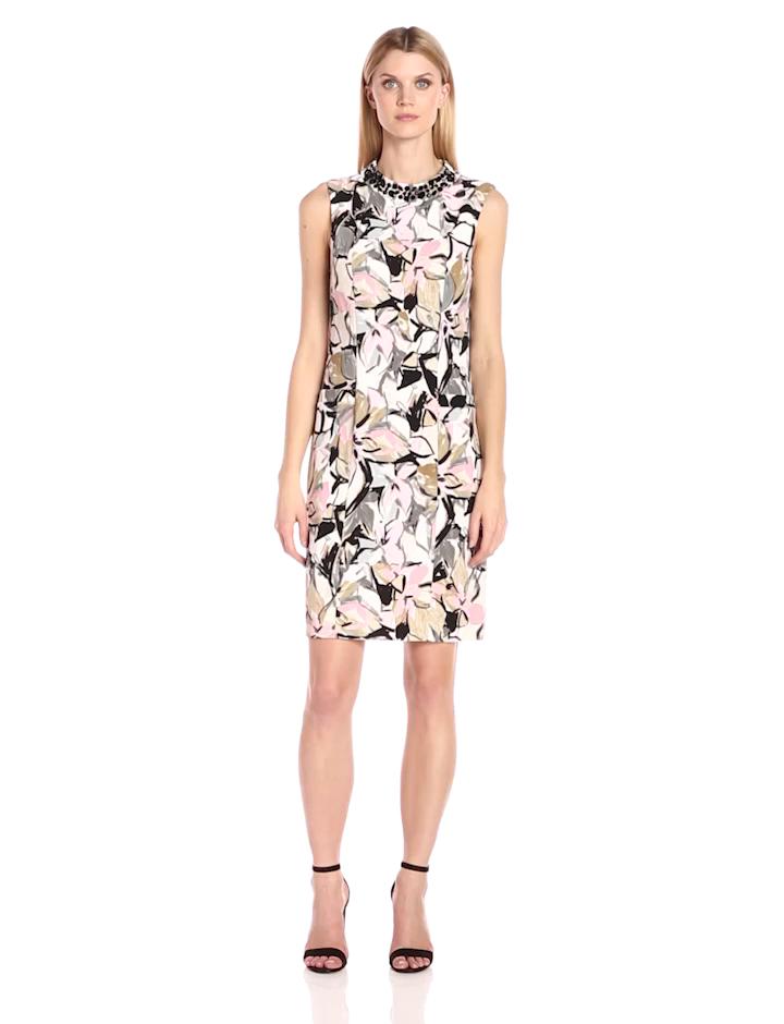 Kasper Women's Embellished Neck Artsy Floral Printed Dress,