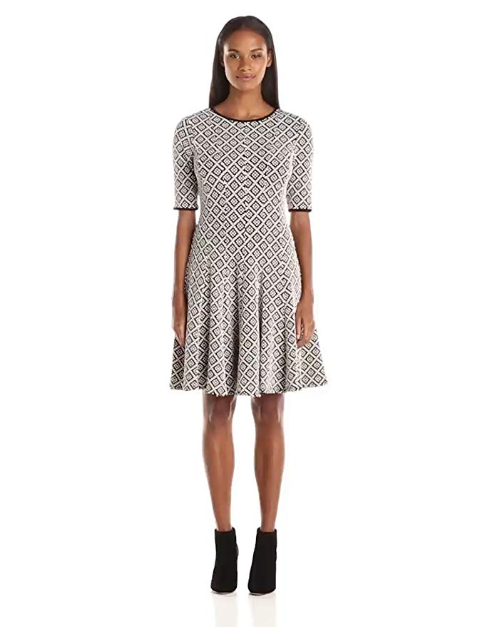 Julian Taylor Women's Elbow Sleeve Fit and Flar All Over Print Dress