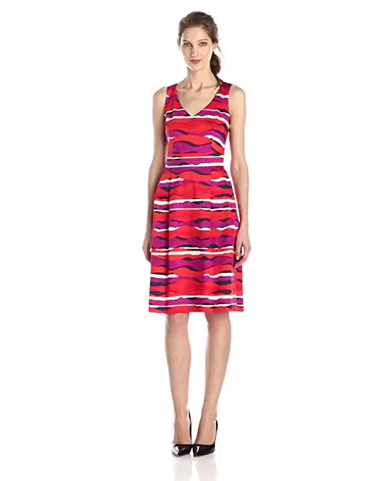 Anne Klein Women's Printed V-Neck Fit-and-Flare Dress