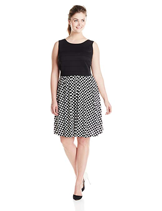 Julian Taylor Women's Plus-Size Solid Top and Dot Skirt Dress