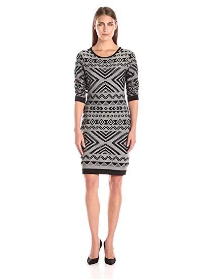 Jessica Simpson Men's Long Sleeve Aztec Print Sweater Dress