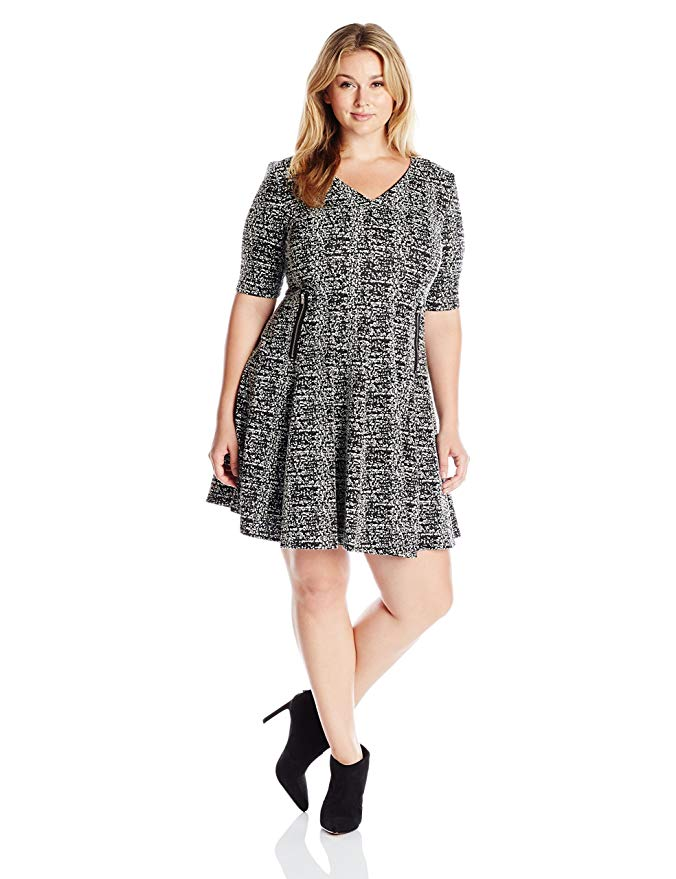 Julian Taylor Women's Plus Size Elbow Sleeved V-Neck Textured Knit Dress